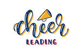 Cheerleading - Colored Lettering with Megaphone. Vector stock illustration isolated on white background.