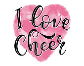 """""""I love Cheer"""" Lettering for cheerleaders - black text and watercolor pink heart - calligraphy for cheerleading. Vector stock illustration isolated on white background"""