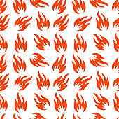 Fire symbols seamless pattern. Vector illustration. Spurts of flame. Red, orange fire symbol. Vector fire seamless background for web pages, wallpaper, packaging.