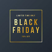 Black Friday Sale Banner Background with gold text effect. Advertising Poster Template. Vector illustration