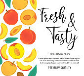 "Vector background with peach, whole and pieces. Vector stock illustration isolated on white background. Card design with fruits. Product information and lettering ""Fresh and Tasty""."