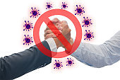 Stop shaking hands.Prevent virus from spreading with red forbidden sign, avoiding physical contact and corona virus infection, Prevent corona outbreak.