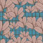 Vintage autumn leaf seamless pattern on green background. Tree leaves backdrop. Autumn floral wallpaper. Retro illustration.