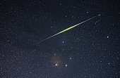 Beautiful starry sky.The huge bright meteor flying on the night sky. Astronomical background.