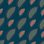 Dark leaf silhouettes outline seamless pattern. Green and maroon pale colored ornament on navy blue background.