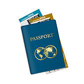 Passport With Plane Tickets. Vacation ID Document