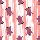 Purple ghosts silhouettes seamless doodle pattern. Halloween style. Scary print with stripped pink background.
