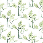 Floral forest isolated silhouettes seamless pattern. White background with green and blue flowers silhouettes.