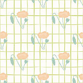Minimalistic light seamless pattern with pale flowers. Poppy elements in pink tones on white chequered background.
