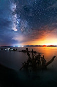 Beautiful night landscape. Old stump in the lake under the milky way galaxy. Sevan Lake Armenia.
