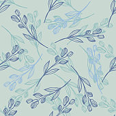 Modern line art leaf seamless pattern on light green background. Hand drawn floral botanical wallpaper.