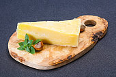 Parmesan cheese served basil and nuts