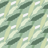 Light seamless doodle pattern with foliage shapes. Floral ornament in grey, beige and white tones on blue background.