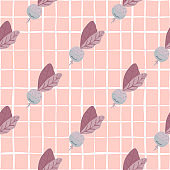 Fresh seamless vegetable pattern with radish ornament. Soft pink background with check.