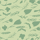 Pale seamless forest pattern with branches and flowers silhouettes. Green tones botanic stylized artwork.