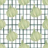 Hand drawn onion bulb vegetable wallpaper. Geometric onion seamless pattern.