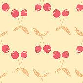 Doodle cherries wallpaper on yellow background. Geometric cherry seamless pattern