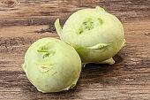 Vegan cuisine - raw kohlrabi cabbage