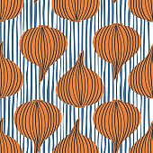 Hand drawn onion bulb vegetable wallpaper. Modern onion seamless pattern.