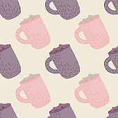 Pastel tones winter seamless pattern with holiday drink print. Purple and pink hot chocolate cups artwork.