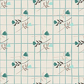 Minimalistic tulip flower seamless pattern. Light grey background with check. Turquoise botanic elements.