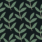 Geometric branches with leaves seamless pattern on black background. Botanical leaf endless wallpaper. Decorative ornament