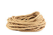 a coil of rope isolated on a white background close up