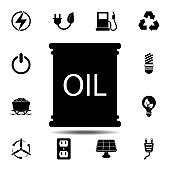 Oil Barrel icon. Simple glyph vector element of energy icons set for UI and UX, website or mobile application