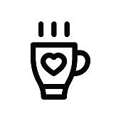 love and romance hot coffee related valentine day vector in lineal style