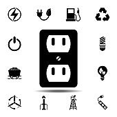 power socket icon. Simple glyph vector element of energy icons set for UI and UX, website or mobile application