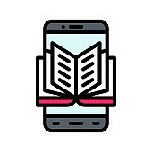 application icons set related mobile phone screen with book or online education and buttons vectors with editable stroke,