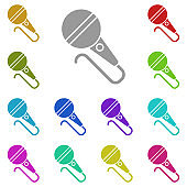 microphone, mike, mouthpiece icon in multi color. Simple glyph vector of web set for UI and UX, website or mobile application
