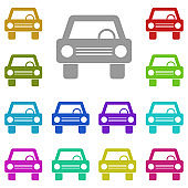 car, vehicle, automobile, auto, motor vehicle icon in multi color. Simple glyph vector for UI and UX, website or mobile application