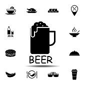 beer mug icon. Simple glyph vector element of Food icons set for UI and UX, website or mobile application