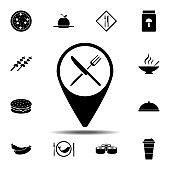 sign, service, restaurant, location icon. Simple glyph vector element of Food icons set for UI and UX, website or mobile application