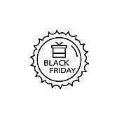 Black friday gift icon. Simple thin line, outline vector of black friday icons for ui and ux, website or mobile application
