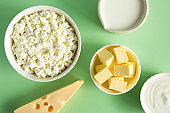 Most common products from milk are butter, cheese, milk, sour cream, cottage cheese on a green paper background flat lay. Natural, organic food. Foods for strong bones