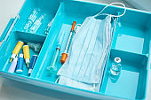 First aid kit  close up. Home medicine box with a medical items. Healthcare and medicine concept.