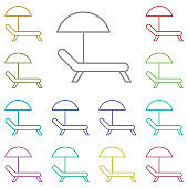 Sunbed multi color icon. Simple thin line, outline vector of summer icons for ui and ux, website or mobile application