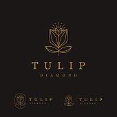set of Elegant minimalist lineart tulip flower and diamond icon vector