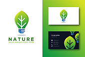 Leaf and lighting bulb vector and business card template