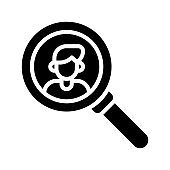 election related character in magnifying glass or find persons for vote vector in solid design,