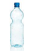 Empty blue plastic bottle isolated on white background