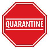 Quarantine sign that indicates the boundaries of the quarantine zone
