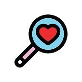valentine related love and romance magnifier glass with heart vector with editable stroke
