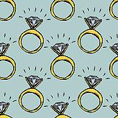 Diamond ring seamless pattern