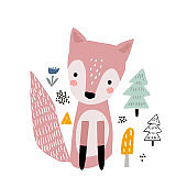 Cute cartoon fox print. Childish print for nursery, kids apparel,poster, postcard. Vector Illustration