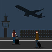 Man with woman tourists travelers with a suitcase at the airport waiting for the plane. Cartoon flat design, vector illustration