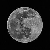 Large full moon seen in detail over the darkness of night