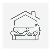 Work from home line icon,stay at home icon